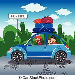 Happy family travel in a car Family traveling by car The...