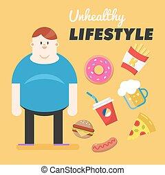 vector, el suyo, concepto, malsano, grasa, malo, Estilo de...