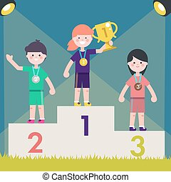 Sport kids on pedestal with trophy cup. Vector illustration Children on victory podium with medal