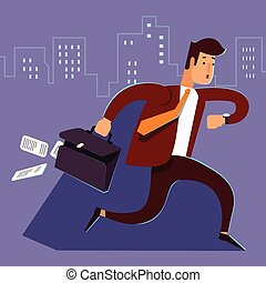 A manager or businessman is late hurry run. Man late for...
