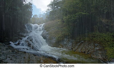 Waterfall on a Rainy Day near Da lat, Vietnam, with Sound -...