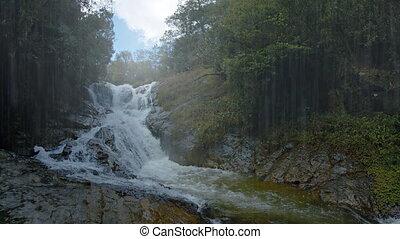 Waterfall on a Rainy Day near Da lat, Vietnam, with Sound -...