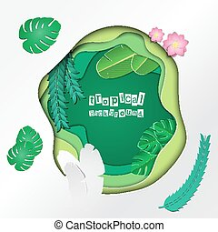 PaperCut Tropical 02 - Vector Illustration of pop-up book...