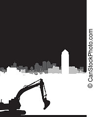 digger on a cityscape background