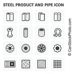 Steel Metal Icon - Vector icon of steel and metal product...
