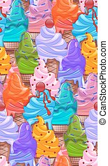 Seamless bright texture with cartoon ice cream cones. Vector pattern for your creativity