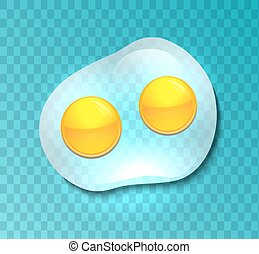 Illustration of a transparent fried eggs. Omelette. Vector...