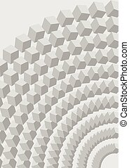 Low contrasting gray abstract background with 3d cubes, optical art illusion