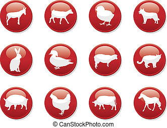 farm animals - farm animal buttons