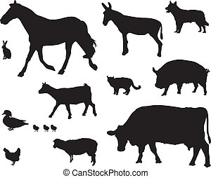 farm animals - group of farm animal silhouettes