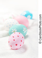 Easter greeting card with colourful Eggs. Easter, family,...