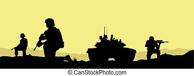 Soldiers and a tank on the fulfillment of the combat...