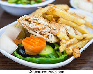 typical arabian fast food Shawerma with chicken - Travel to...