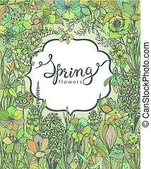 Floral background with hand drawn spring flowers