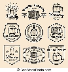 Old brewery logos set. Kraft beer retro signs or icons with...