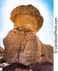 Mushroom rock in Wadi Rum desert