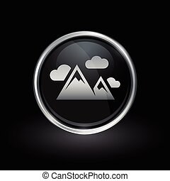 Mountain peak icon inside round silver and black emblem