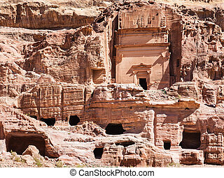 front view of Uneishu Tomb in ancient Petra city
