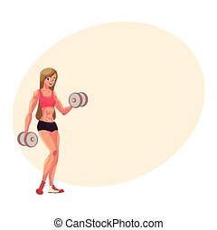 Woman bodybuilder, weightlifter working out, training arms...