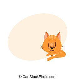 Cute and funny red cat character sleeping, dreaming sweetly