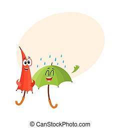Two funny, happy umbrella characters, open and closed, under...