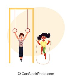 Friends playing with gymnastic rings and jumping rope at...