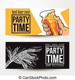 Banners with hand holding glass of beer, barley and place for text