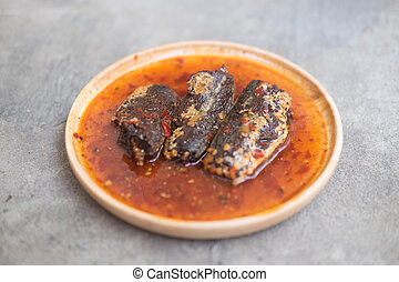 Fried mackerel in chilli sauce is made of sweet and spicy...