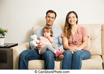Young family in the living room
