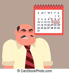 Angry businessman against the background of calendar