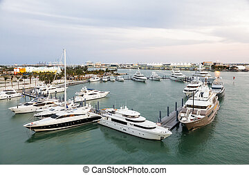 Marina in Miami, Florida - Yachts at the marina in Miami....
