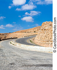 turn on King's highway in mountain in Jordan - Travel to...