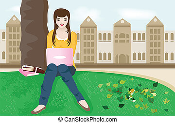 College student - A vector illustration of a female college...
