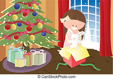 Girl opening Christmas present - A vector illustration of a...