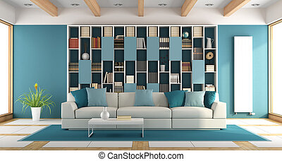 White and blue large living room