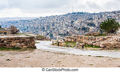 wet path from Citadel to Amman city in rain - Travel to...