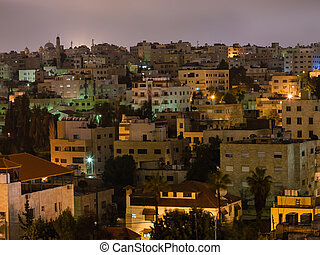 apartment houses in Amman city in night
