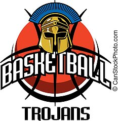 trojans basketball team design with mascot helmet for...