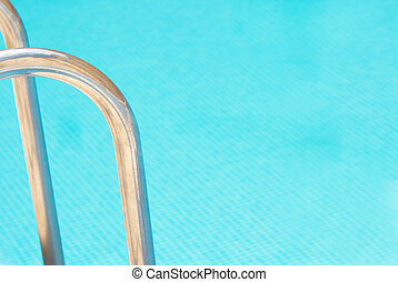 Pool abstract, ladder railings and copy space on the water