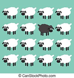 Stand out from the crowd concept. Black sheep between white sheep vector illustration.