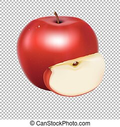 Fresh Apple With Gradient Mesh, Vector Illustration