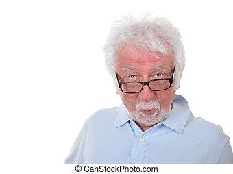 Elderly man on white background - Portrait of an elderly man...