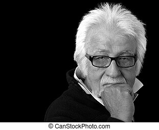 Serious old man. - Black and White portrait of an elderly...
