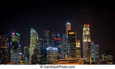 Night Time Cityscape in Downtown Singapore. Video 1080p -...