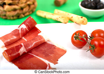 Serrano ham - Spanish serrano ham served with cherry...