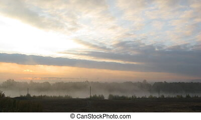 rural mist landscape with sunrise