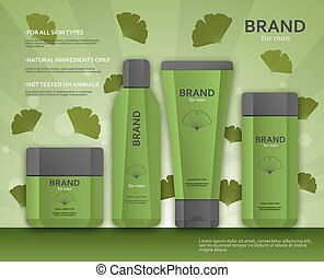 Cosmetic bottles template for men with ginkgo biloba leaves
