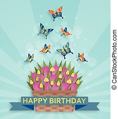 Cute Happy Birthday background with tulips and butterflies
