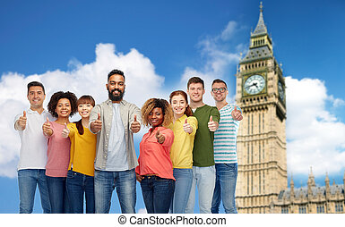 group of people showing thumbs up over big ben - diversity,...