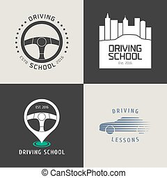 Collection of driving license school vector logo. Car...